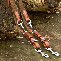 Tuigleer-collectie 'riem van katoen en leer', kleur: bruin