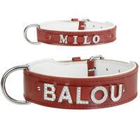 MyName leren halsband, rood